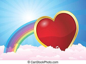 heart clouds rainbow