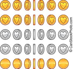 Heart coins rotation animation sprites - Game coins gold,...