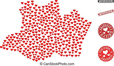 Heart Collage Map of Amazonas State and Grunge Stamps for Valentines