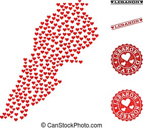 Heart Collage Map of Lebanon and Grunge Stamps for Valentines