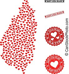 Heart Collage Map of Saint Lucia Island and Grunge Stamps for Valentines