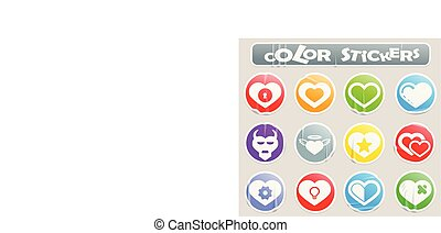 Heart color stickers