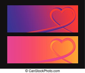 Heart colorful neon figures, Valentine's day greeting Banner