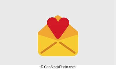 message envelope icons - heart coming out of message...