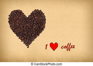 Heart composed of coffee beans. Inscription I love coffee. Concept of coffee in retro style.