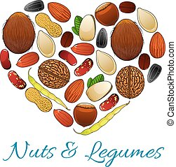 Heart composed of nut, bean, legume and seed