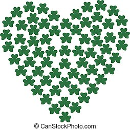 Heart composed with shamrocks - background