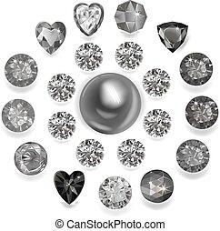 Heart composition cut gemstone shape set isolated on white background