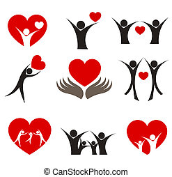 Heart concepts - Collection of people with hearts - couple,...