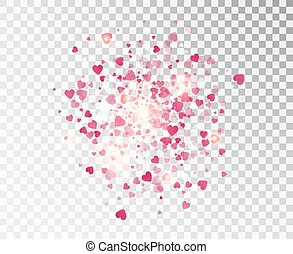 Heart confetti falling on transparent background. Valentines...