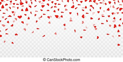 Heart confetti. Valentines day decoration. Flying hearts on transparent background. Vector