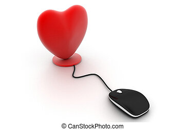 Heart connected to a computer mous