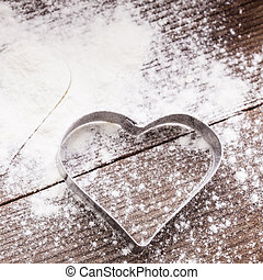 Heart cookie cutter - Cookie cutter heart shape on the...