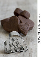 Heart Cookie Cutters and Cookies - Selective Focus