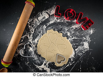 Heart Cookie Cutters in Rolled Dough