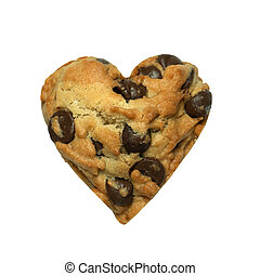 Heart cookie isolated on white background
