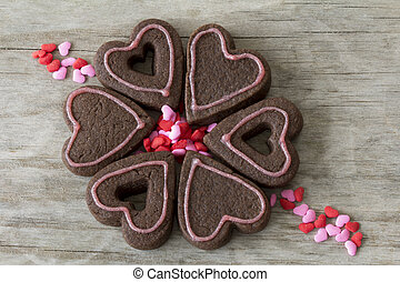 Heart Cookies in a Circle with Heart Sprinkles