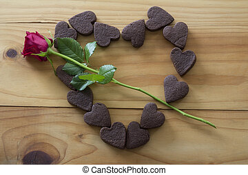 Heart Cookies in Heart Shape with a Rose Arrow