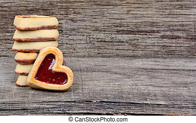 Heart cookies on rustic table