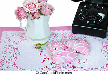 heart cookies with retro telephone