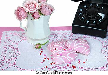 heart cookies with retro telephone