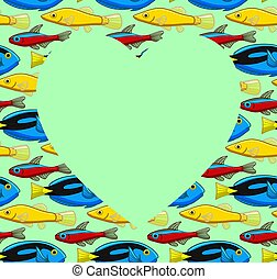 Heart copy space on fish pattern. Green background