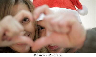 heart., couple, doigts, santa chapeau, image, faire