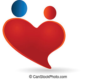 Heart couples love symbol and care vector icon logo