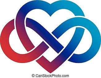 heart., créé, concept, symbole, infinité, signe, vecteur, ...