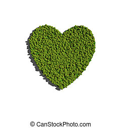 heart create by tree with white background