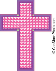 Heart Cross - A pink color cross has heart cutouts in a...