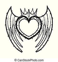 Heart crown shape of thorns vector - Heart crown shape of ...