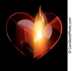 heart-crystal, quebrada, chama