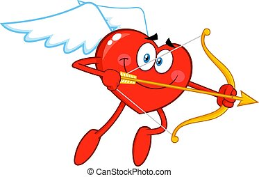 Heart Cupid Cartoon Character Flying With Bow And Arrow