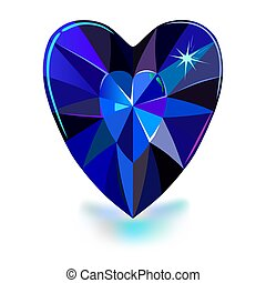 Heart cut gemstone shape isolated on white background