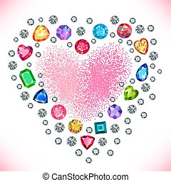Heart cut gemstone shape set isolated on background