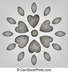 Heart cut gemstone shape set isolated on white background