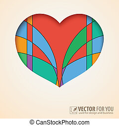 Heart cut out of paper with abstract, colored background