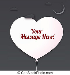 Heart cut out of paper with place for your message