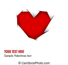 Heart cut out of white paper - vector