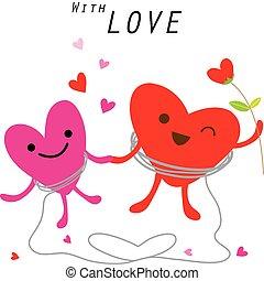 Heart Cute Cartoon Character Vector