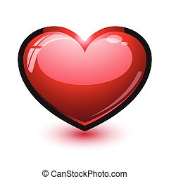 Cute shiny heart isolated on white.