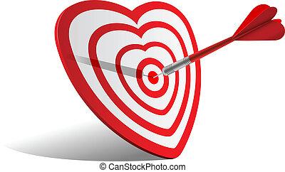 heart dart - vector concept valentine day illustration