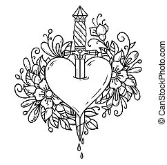 Heart decorated with flowers pierced with dagger