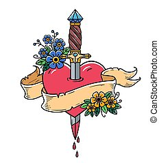 Heart decorated with flowers pierced with dagger. Tatoo ancient dagger piercing heart with dripping blood. Love. Old school
