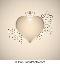 Heart decorated with hand drawn swirls and curves. Vector.