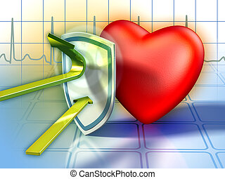 Heart defenses - Shield protecting the heart from harmful...