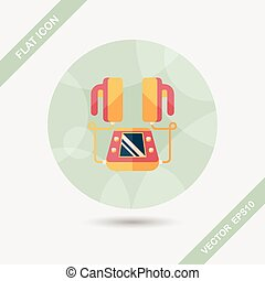 Heart Defibrillator flat icon with long shadow