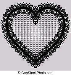 heart., dentelle, invitations, élément, noir, orné, cartes, conception, decoupage., ou
