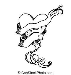 heart., desenho, mão
